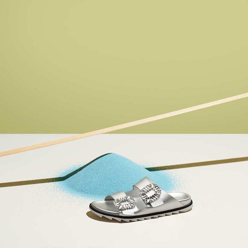 Roger Vivier 30mm Slidy Viv Metallic Leather Sandals