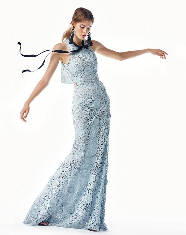 Sachin & Babi Nina Tie-Neck Lace Gown