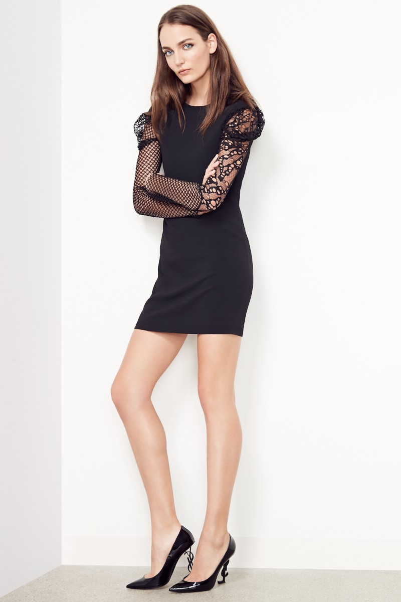 Saint Laurent Lace Balloon Sleeve Dress