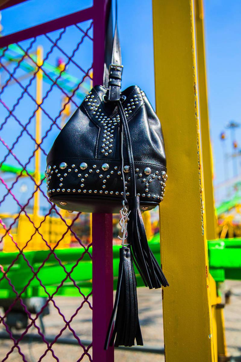 Saint Laurent Small Y Studs Leather Bucket Bag