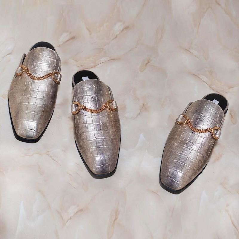 Stella McCartney Faux Crocodile Slip-On Loafers
