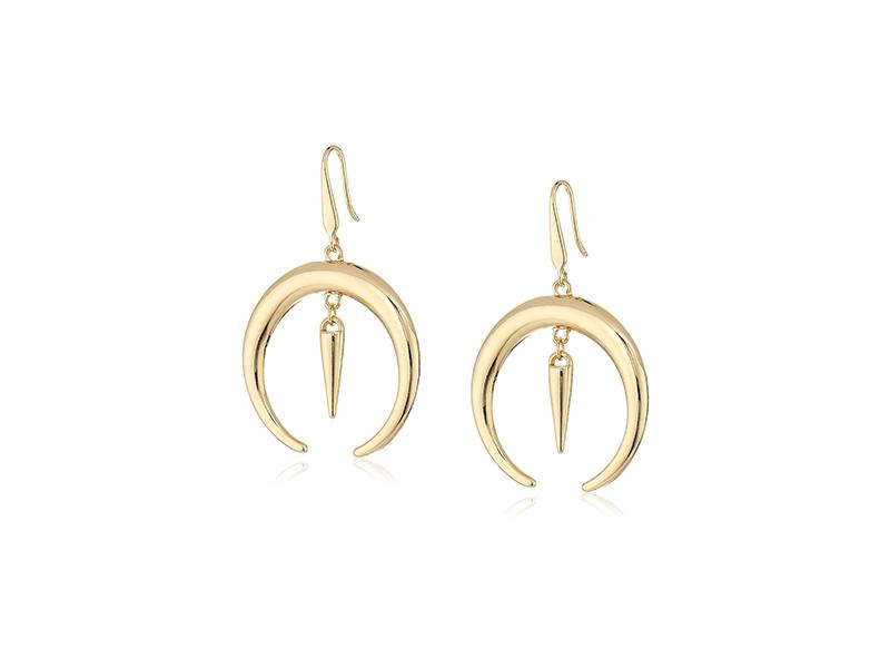 Steve Madden Gold-Tone Crescent Fishhook Drop Earrings