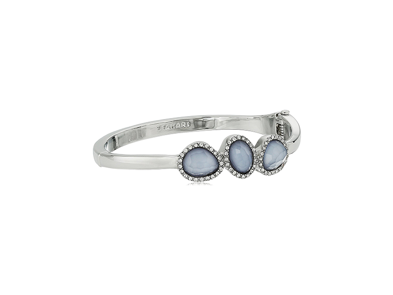 T Tahari Faceted Stone Hinge Bangle Bracelet
