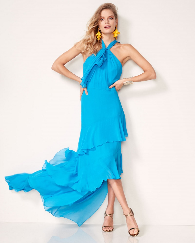 Theia Sleeveless Tiered Silk Chiffon Gown