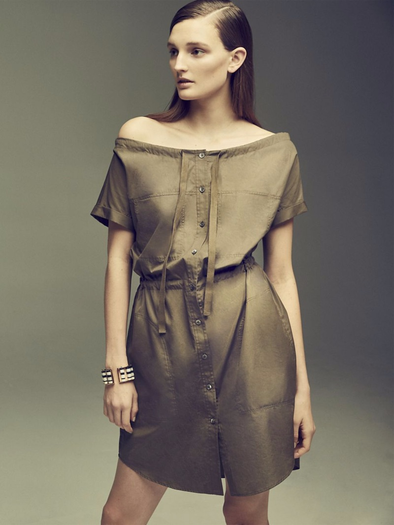 Theory Laela Off-The-Shoulder Stretch-Cotton Dress
