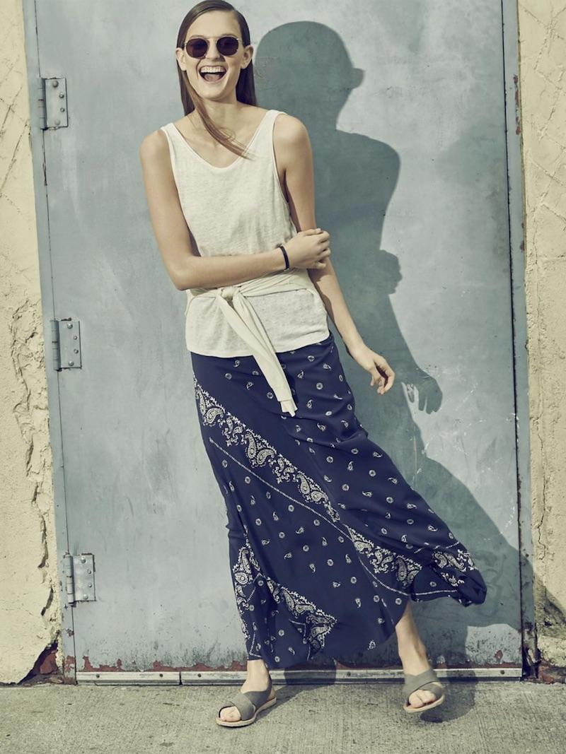 Theory Sopheena Bandana Silk Maxi Skirt