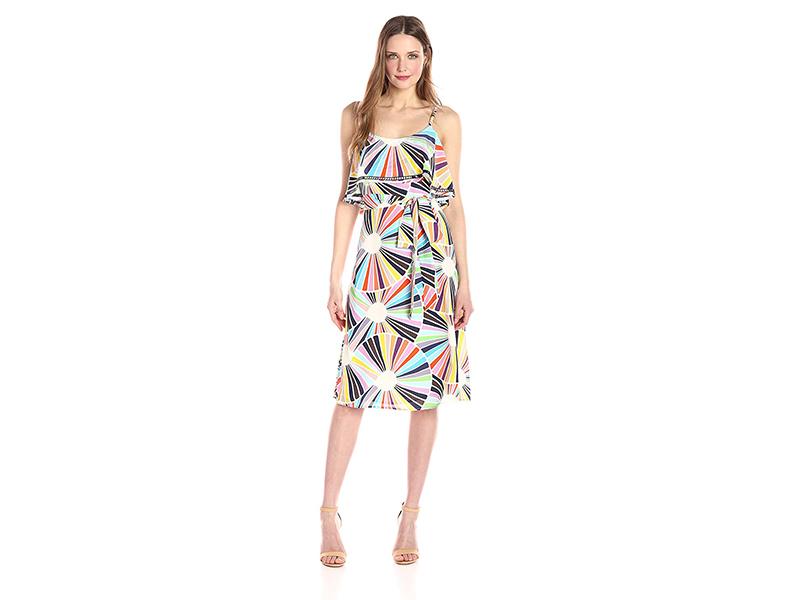 Trina Turk Isabel Coppelia Print Tie Waist Crepe De Chine Dress