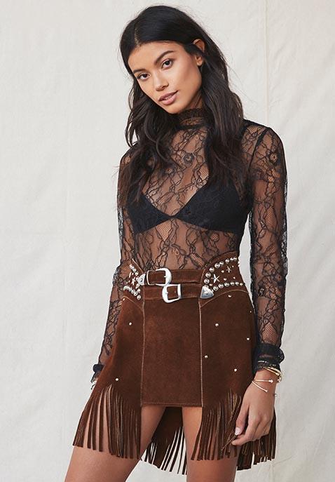 Understated Leather X REVOLVE Paris Texas Studded Skirt
