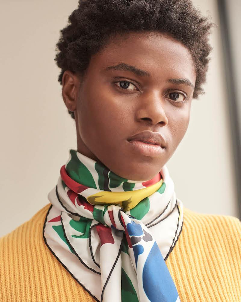Valentino Floral-Bouquet-Print Silk Scarf
