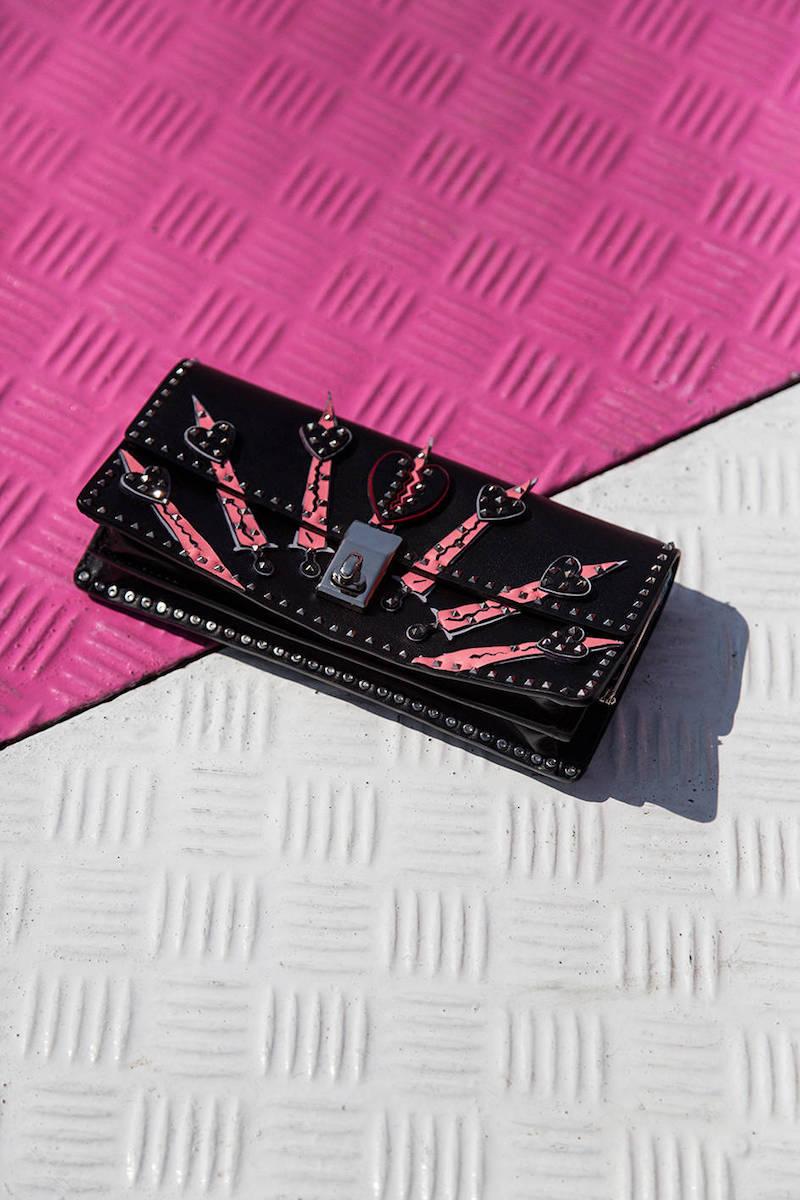 Valentino Hearts Studded Leather Shoulder Bag