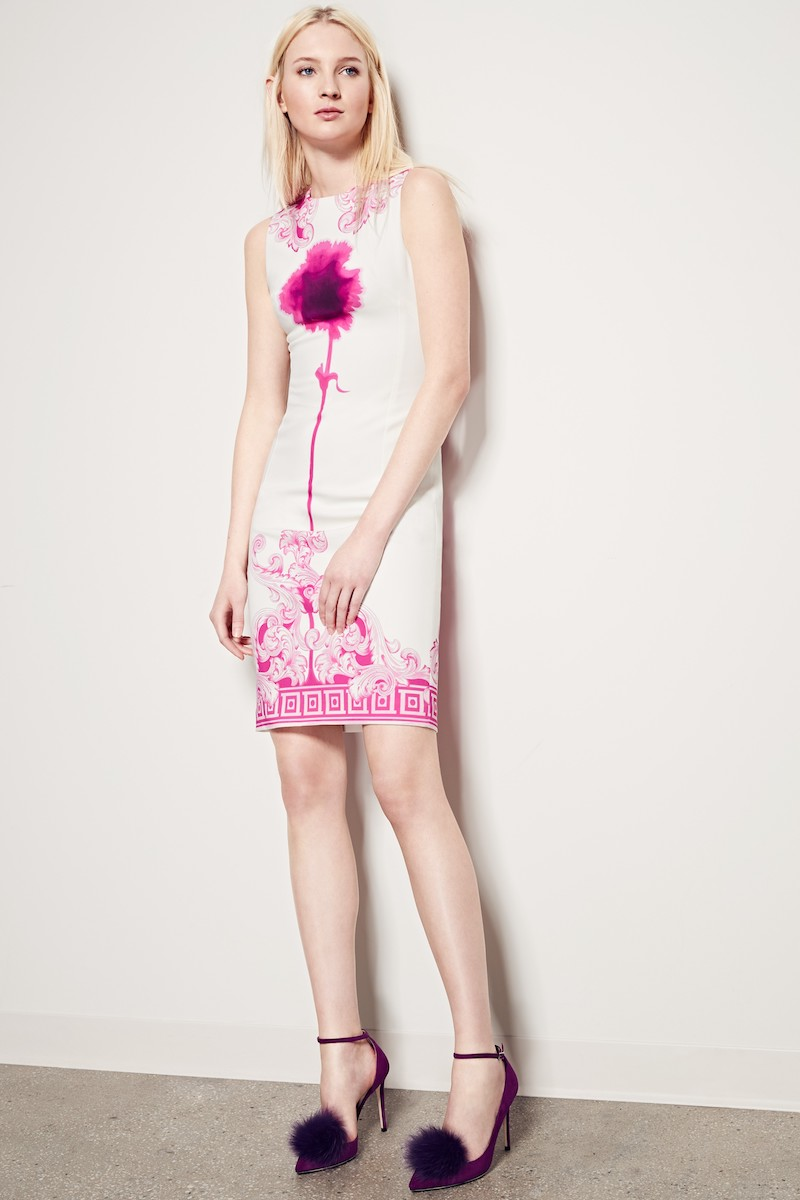 Versace Collection Flower Print Sheath Dress