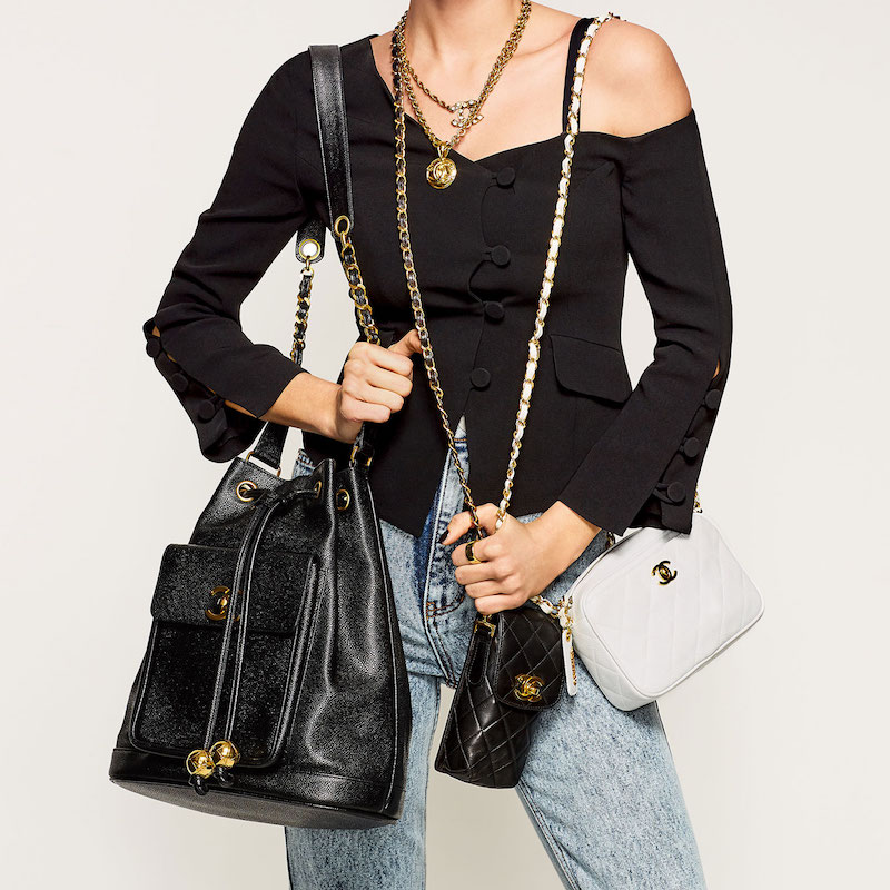 What Goes Around Comes Around Chanel Caviar Bucket Bag