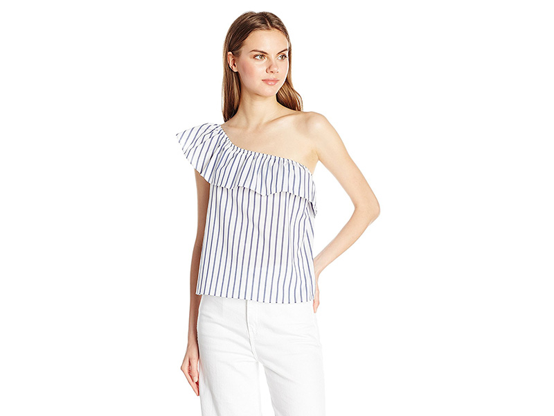 A. Byer One Shoulder Ruffle Striped Top