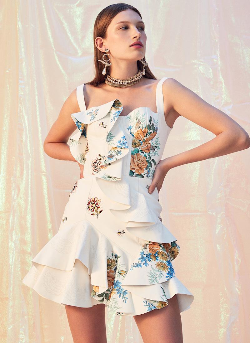 Alexander McQueen Leather Ruffle Dress