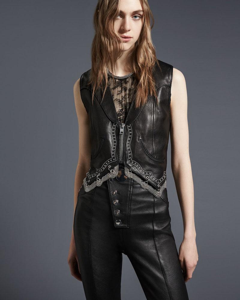 Alexander Wang Chain-Trim Leather Western Vest