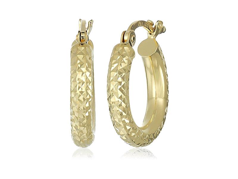 Amazon Collection 10k Yellow Gold 3mm Diamond Cut Round Tube Hoop Earrings
