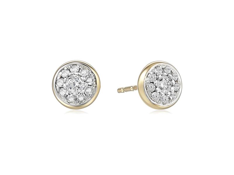 Amazon Collection 10k Yellow Gold Diamond Stud Earrings