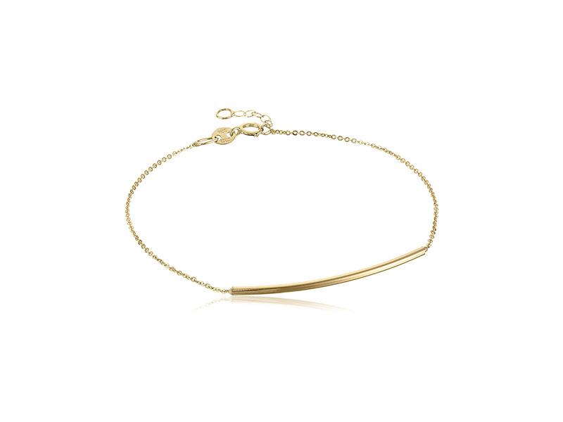 Amazon Collection 14k Italian Gold Sliding Curved Bar Adjustable Link Bracelet