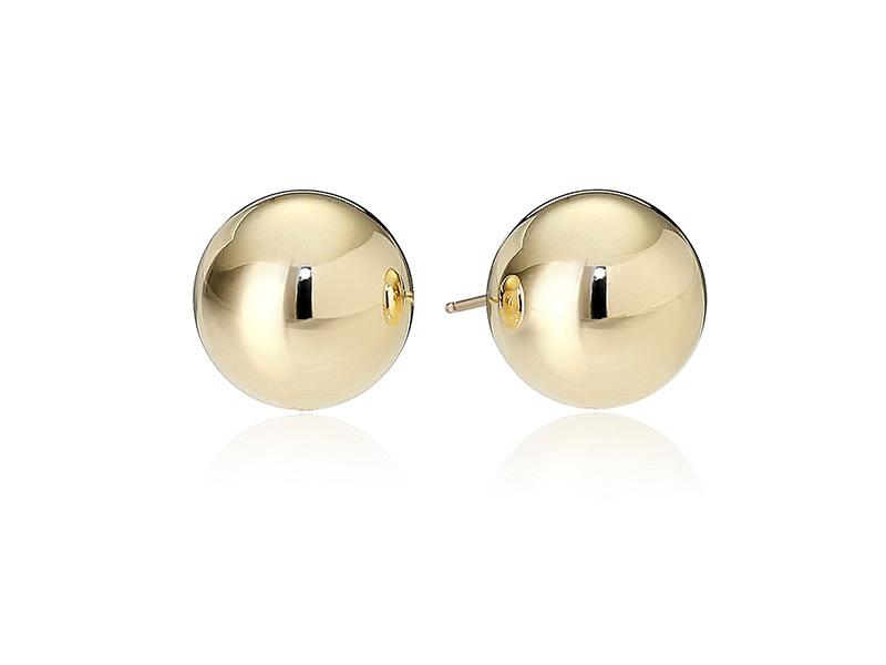Amazon Collection 14k Yellow Gold Ball Stud Earrings