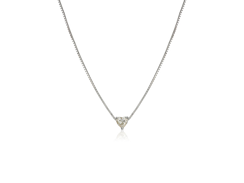 Amazon Collection Platinum Over Sterling Silver 5 Mm Heart Moissanite Pendant Necklace