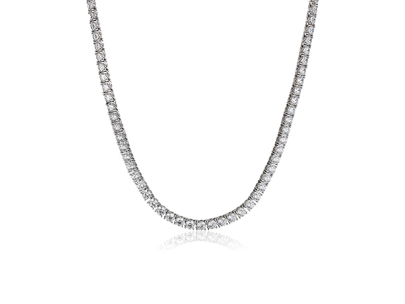 Amazon Collection Platinum or Gold-Plated Sterling Silver Swarovski Zirconia Round-Cut Tennis Necklace