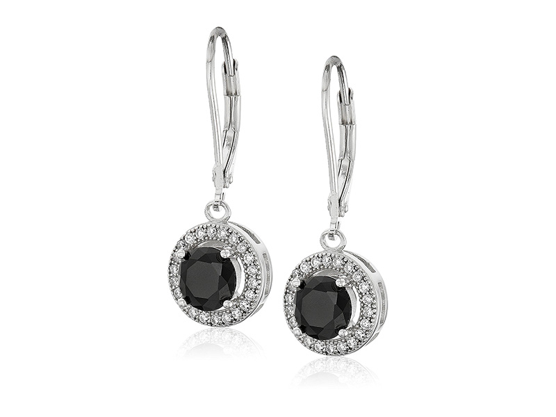 Amazon Collection Sterling Silver 10mm Created Cubic Zirconia Halo Earrings