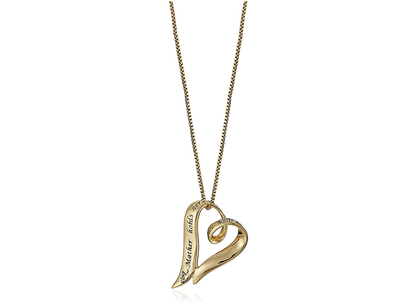 """Amazon Collection Sterling Silver """"A Mother Holds Her Child s Hand For A Short While and Their Hearts Forever"""" Open Heart Pendant Necklace"""