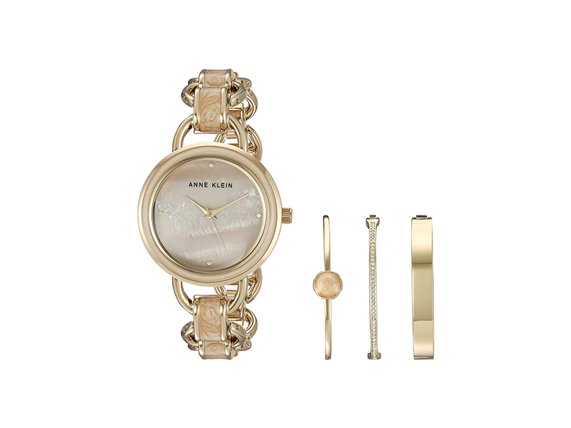 Anne Klein AK/2750LPST Gold-Tone and Tan Marbleized Open Link Bracelet Watch and Bangle Set