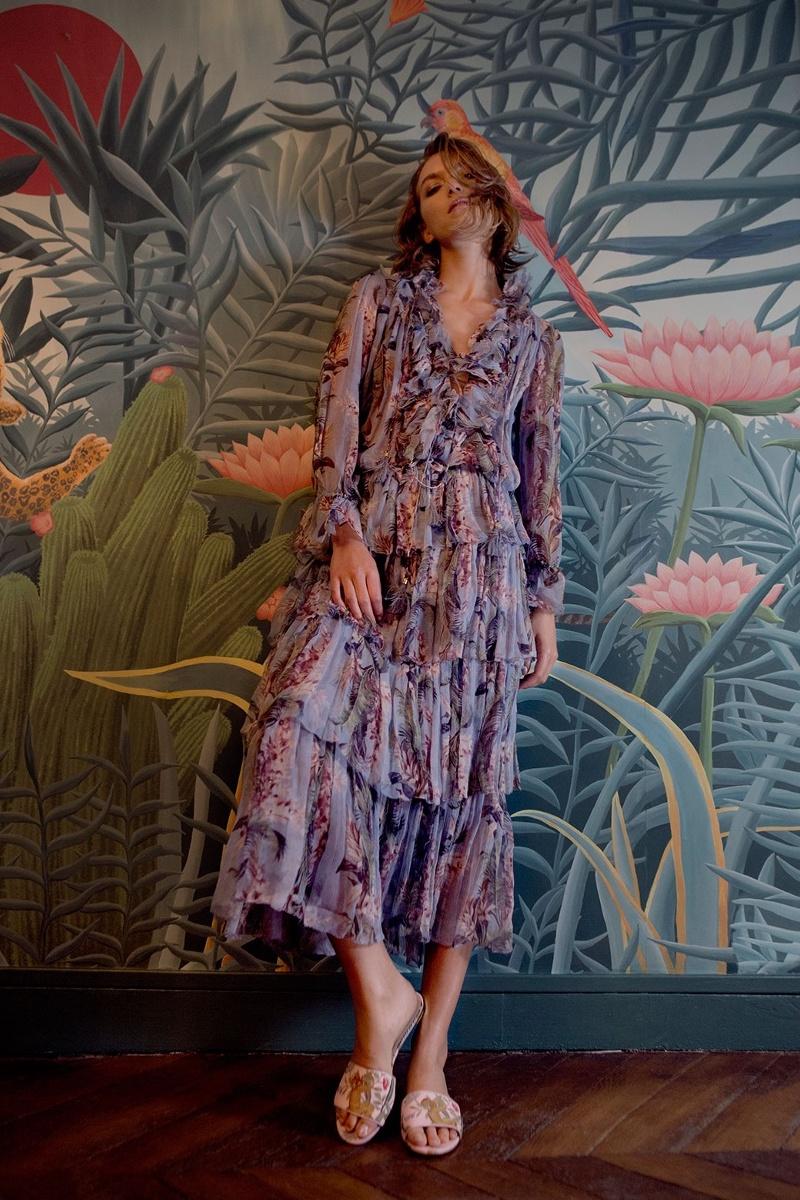 Aquazzura for de Gournay Embroidered-Satin Slides