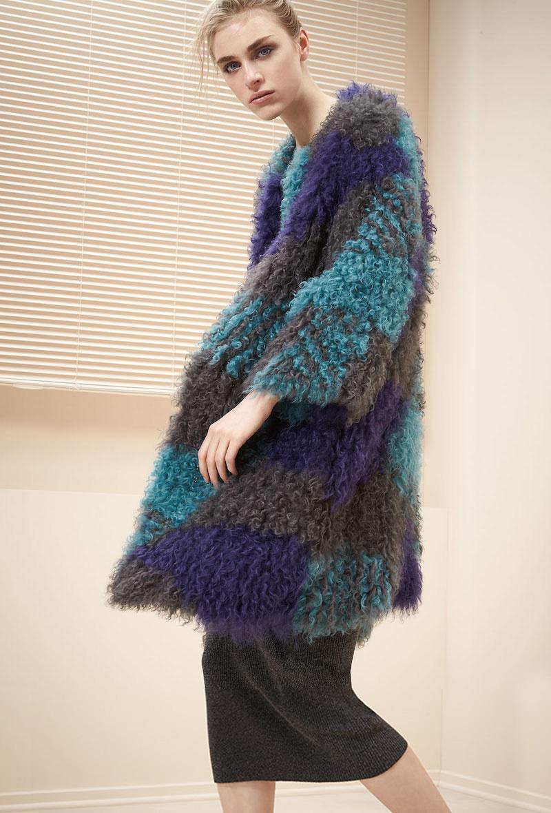 Armani Collezioni Colorblock Mongolian Lamb Fur Caban Coat
