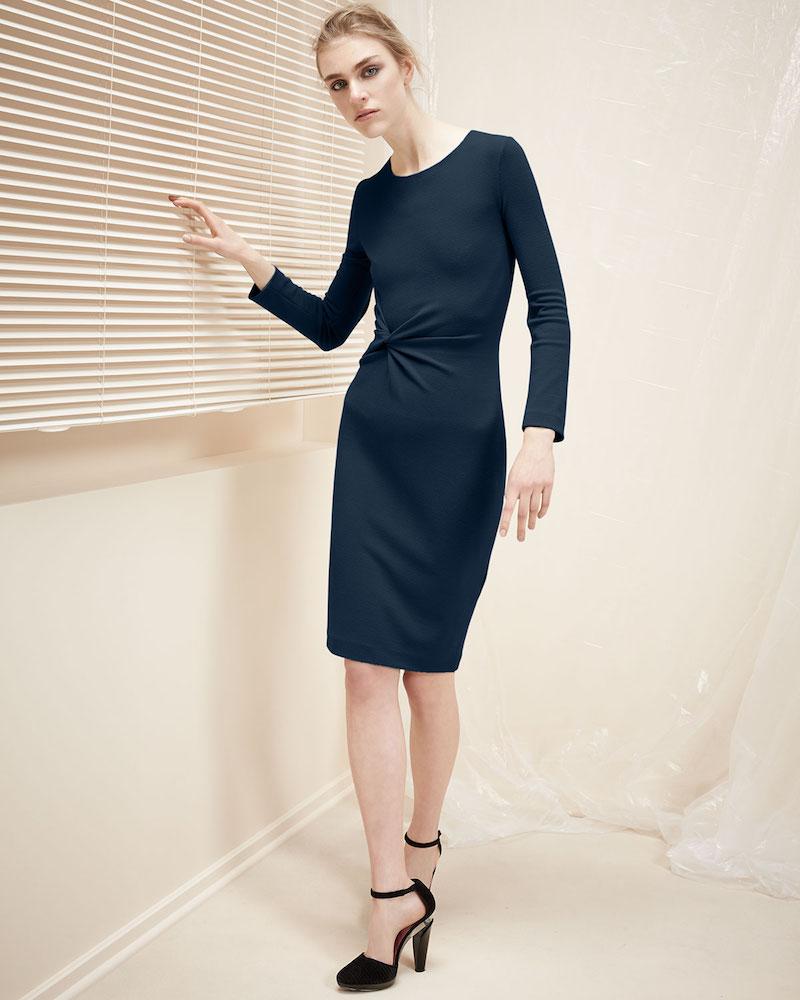 Armani Collezioni Pebbled Jersey Long-Sleeve Knot Dress