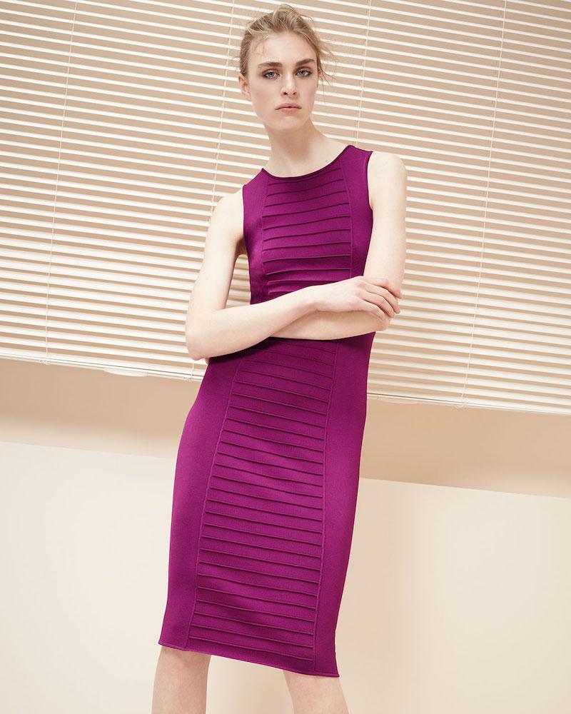 Armani Collezioni Piped Sleeveless Knit Sheath Dress