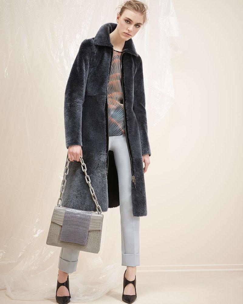 Armani Collezioni Reversible Shearling Fur Princess Coat