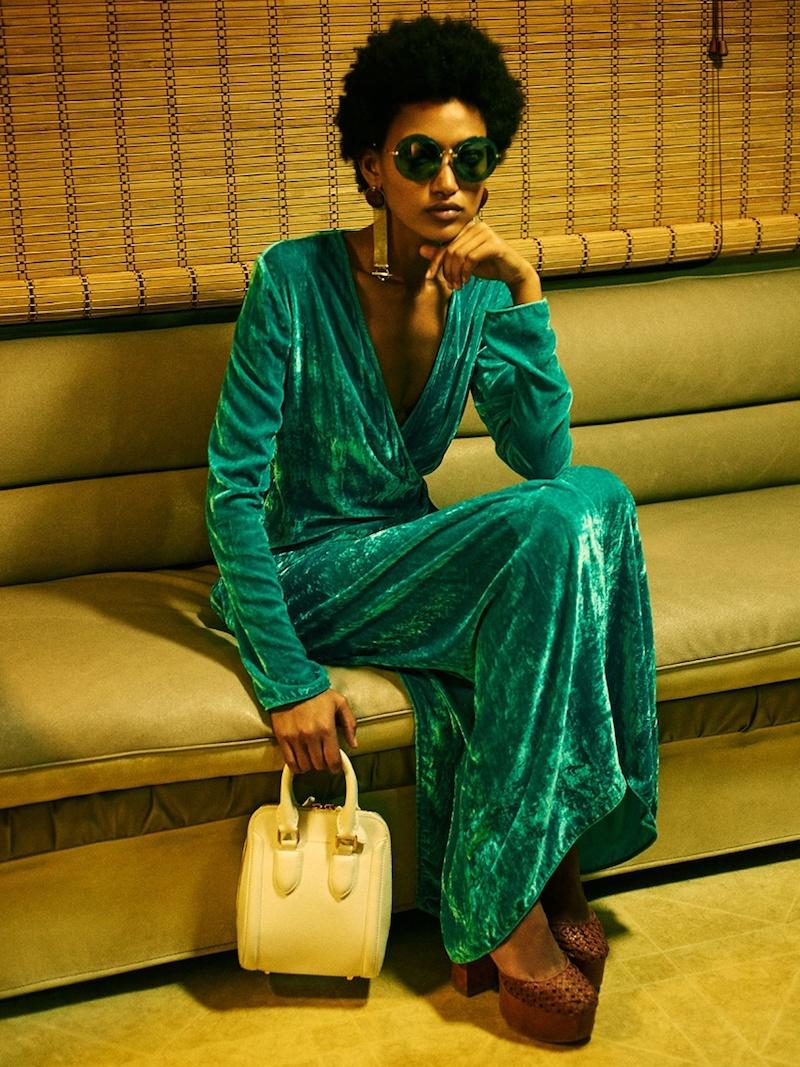 Attico Racquel Velvet-Wrap Dress