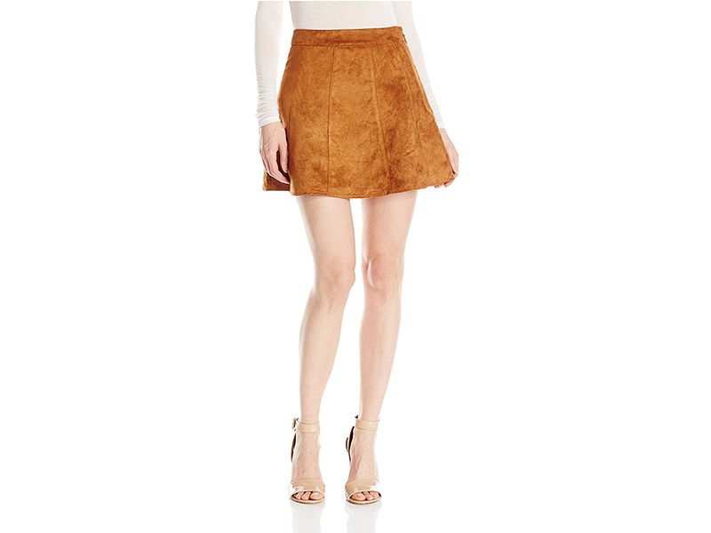 BCBGeneration Faux Suede Seamed A-Line Skirt