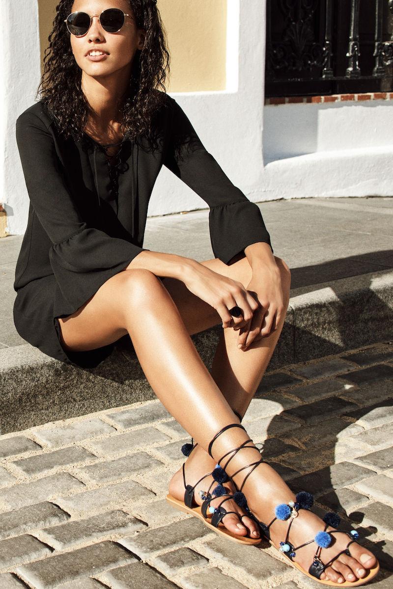 BP. Laney Pompom Lace-Up Sandal