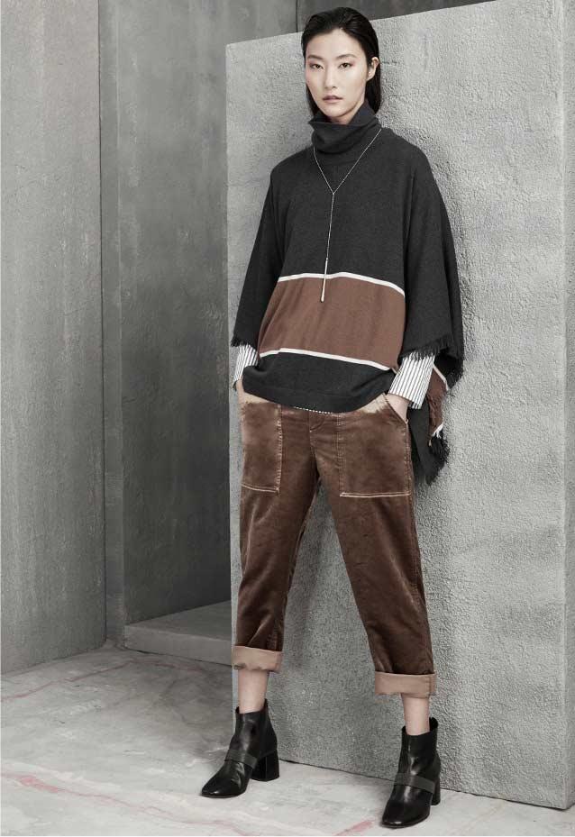 Brunello Cucinelli Bold-Stripe Cashmere Poncho with Fringe