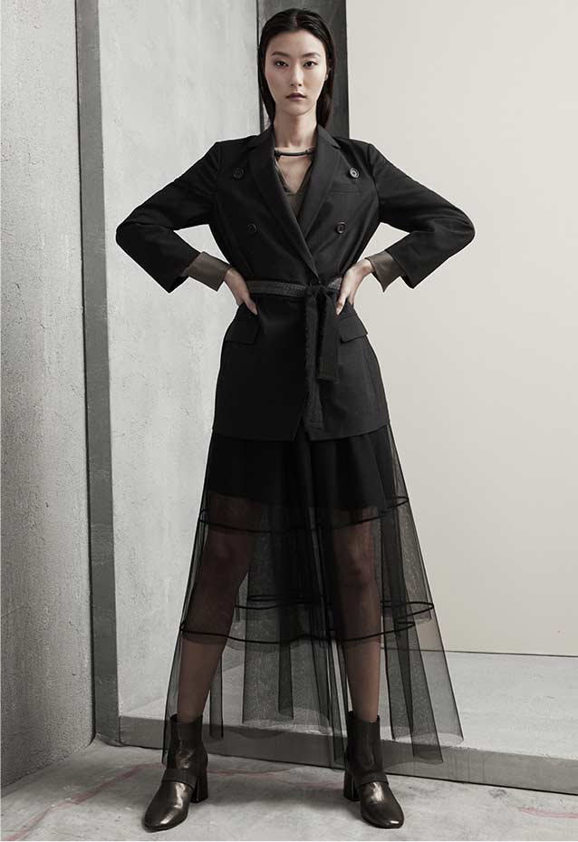 Brunello Cucinelli Double-Breasted Long Blazer Jacket