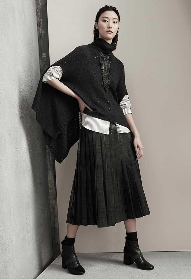 Brunello Cucinelli Metallic Taffeta Pleated Skirt