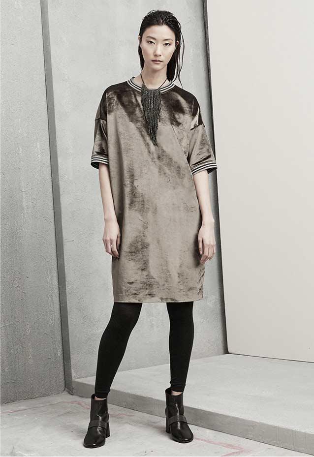 Brunello Cucinelli Velvet 1:2-Sleeve Dress with Varsity Stripes
