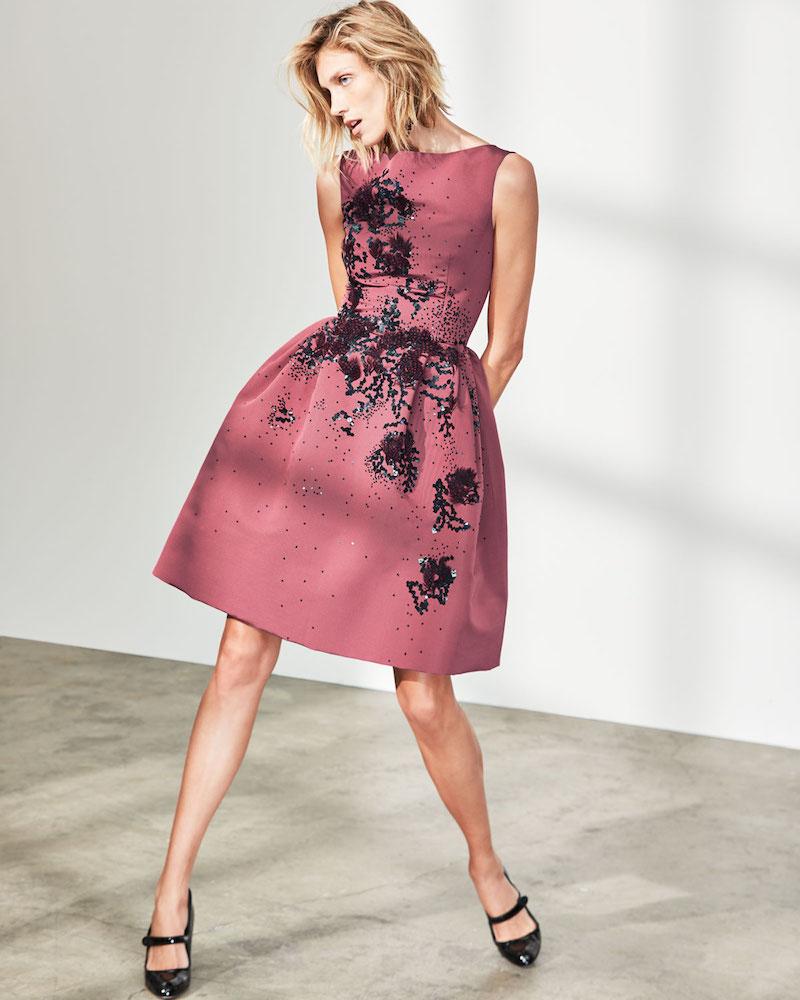 Carolina Herrera Sleeveless Floral-Embellished Party Dress