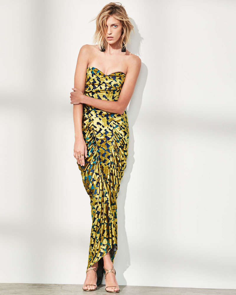 Carolina Herrera Strapless Velvet Chevron Gown