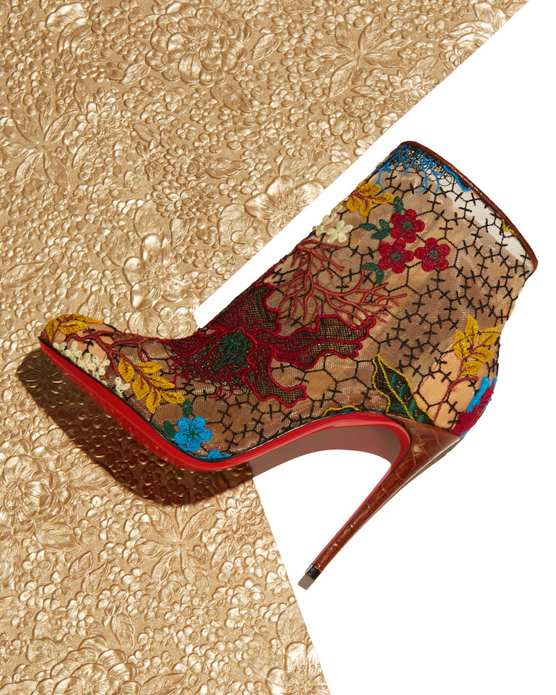 Christian Louboutin Miss Tennis Embroidered Lace Red Sole Bootie