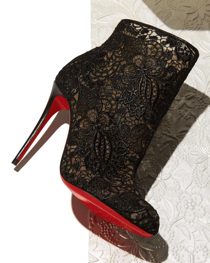 Christian Louboutin Miss Tennis Net Lace Red Sole Bootie