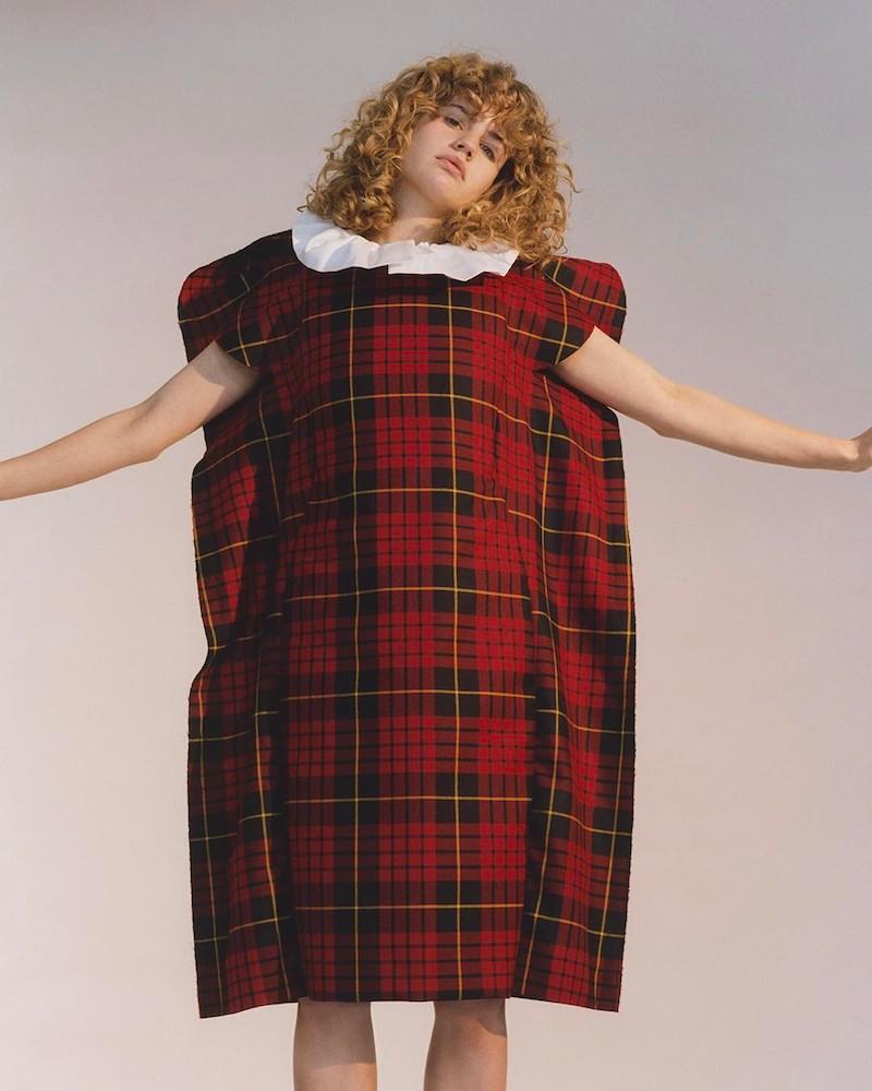 Comme des Garçons Sculptural Wool-Tartan Dress