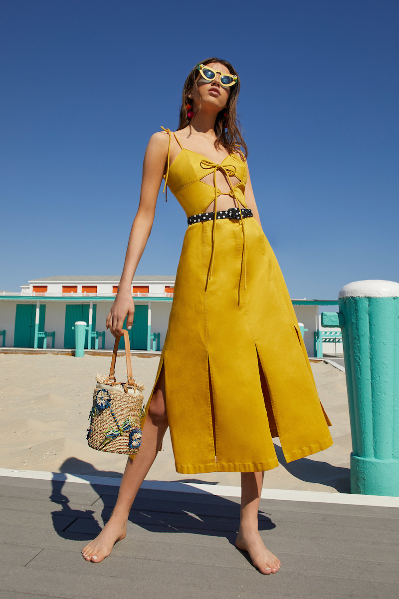 Cult Gaia Yellow Car Wash Cutout Dress