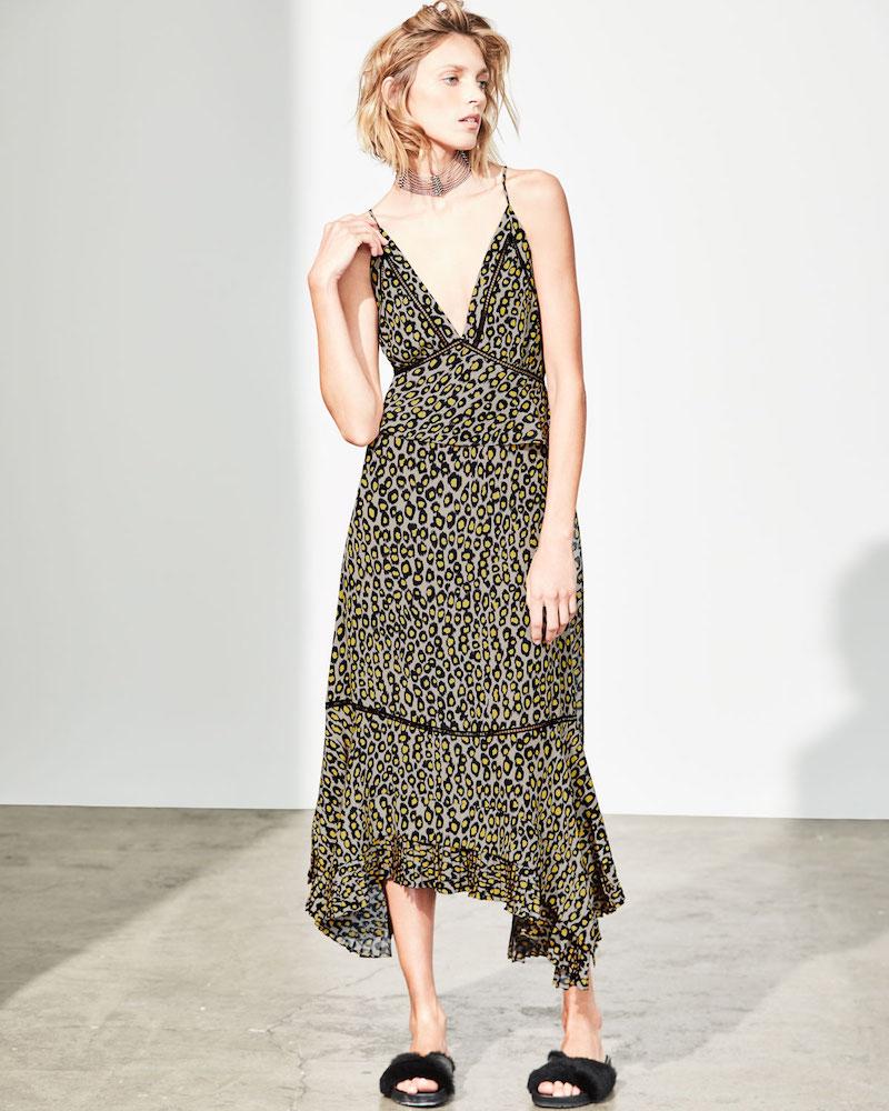 Derek Lam Leopard-Print Lace-Inset Sleeveless Silk Midi Dress