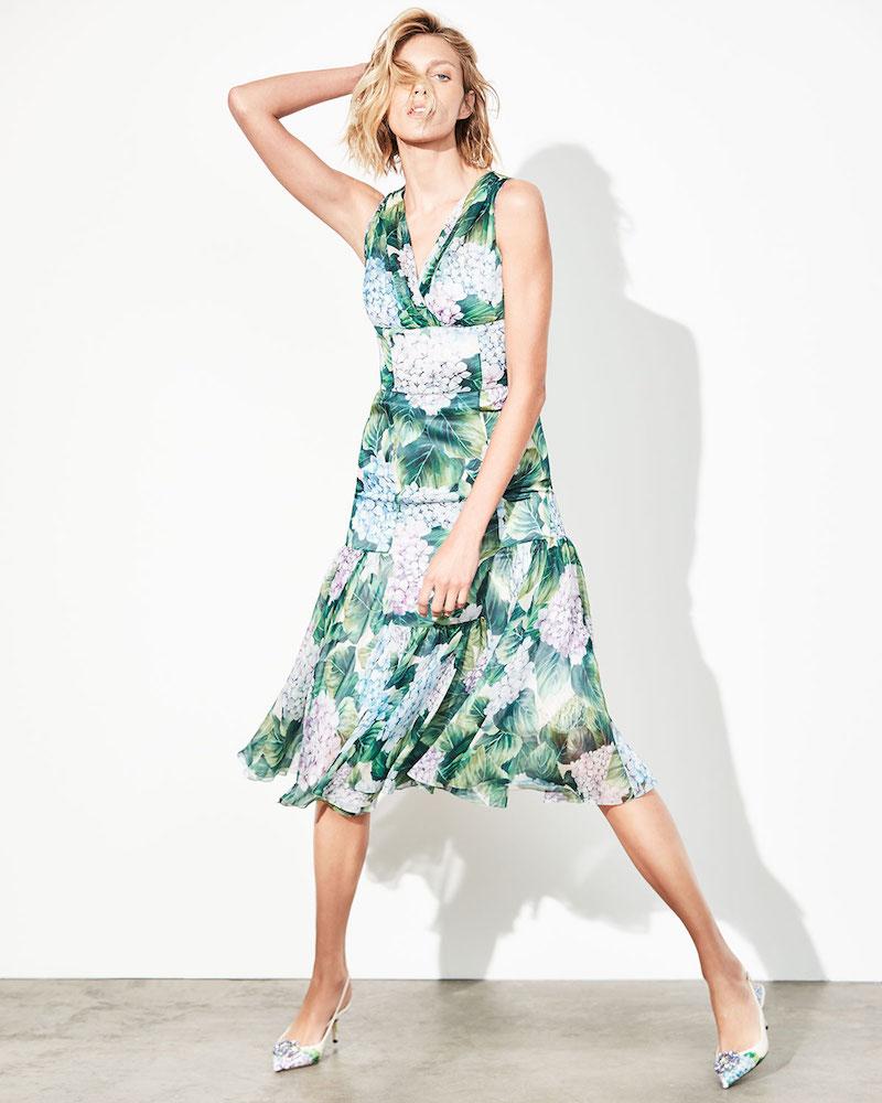 Dolce & Gabbana Sleeveless Hydrangea Chiffon Dress