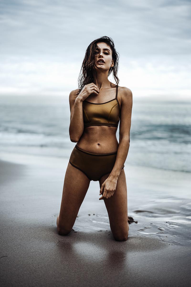 Dos Gardenias Foggy Nation Neoprene High-Waist Bikini Bottom