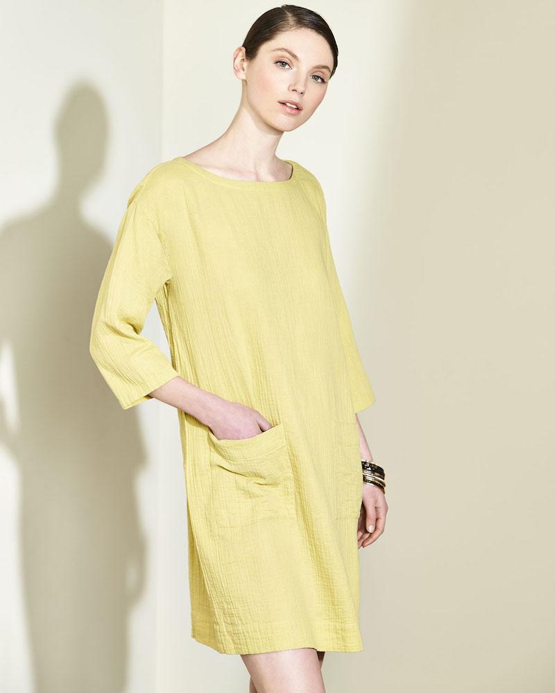 Eileen Fisher Organic Cotton Gauze Pocket Dress
